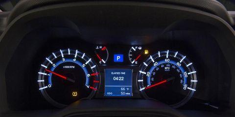 Mode of transport, Speedometer, Tachometer, Gauge, Trip computer, Carmine, Measuring instrument, Odometer, Luxury vehicle, Display device,