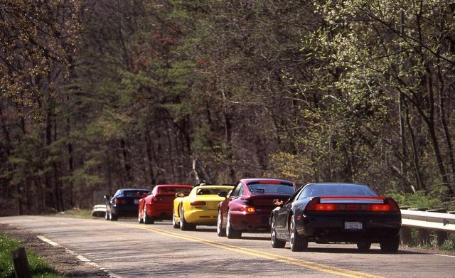 1995 acura nsx t, dodge viper rt10, ferrari f355, lotus esprit s4s, and porsche 911 turbo