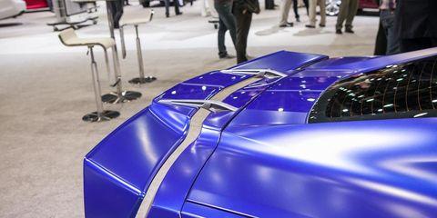 Automotive design, Electric blue, Cobalt blue, Auto show, Majorelle blue, Sports car, Supercar, Luxury vehicle, Hood, Concept car,