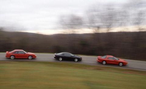 1993 ford mustang cobra, 1993 chevrolet camaro z28 and 1993 pontiac firebird formula