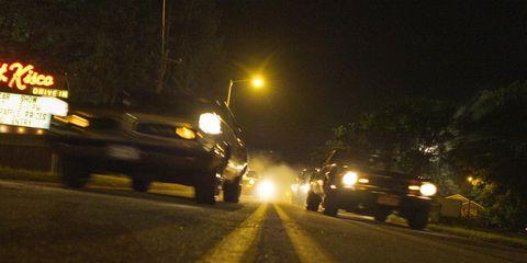 Motor vehicle, Night, Road, Road surface, Infrastructure, Automotive lighting, Asphalt, Thoroughfare, Midnight, Headlamp,