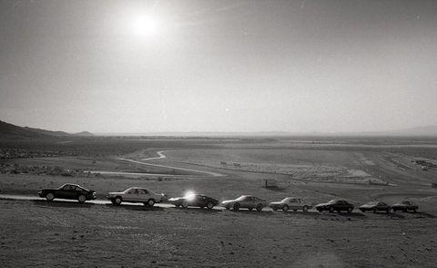Landscape, Plain, Horizon, Monochrome, Monochrome photography, Black-and-white, Sand, Astronomical object, Classic car, Luxury vehicle,
