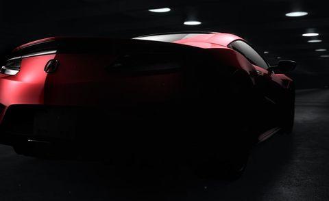 Automotive design, Automotive exterior, Automotive tail & brake light, Carmine, Automotive lighting, Maroon, Bumper, Trunk, Concept car, Sports car,