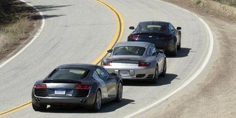 2007 aston martin v 8 vantage, 2007 porsche 911 turbo, and 2008 audi r8