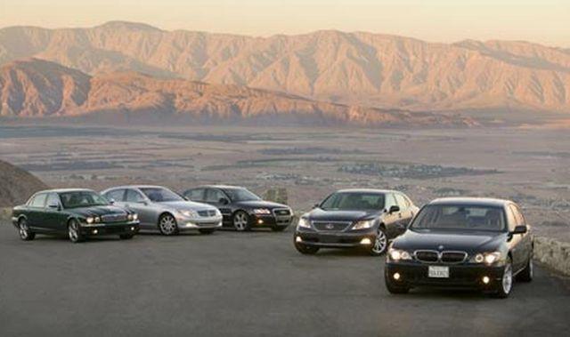 2006 audi a8l quattro, 2006 bmw 750li, 2006 jaguar super v8, 2007 lexus ls460l, and 2007 mercedesbenz s550
