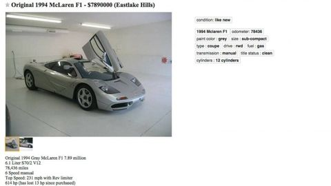 McLaren F1 for Sale On Craigslist for Nearly $8 Million