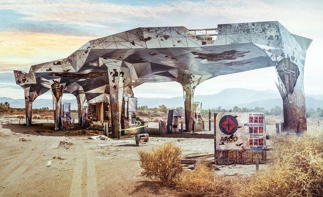 illustration of abandoned arco station
