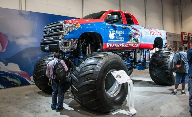 toyota smash two tundra monster trucks stomp into sema