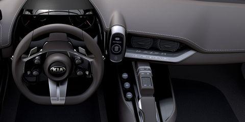 Motor vehicle, Automotive design, Steering part, Steering wheel, Center console, Luxury vehicle, Personal luxury car, Gear shift, Black, Grey,