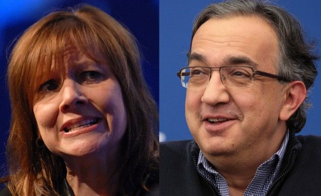 general motors ceo mary barra and fiat chrysler automobiles ceo sergio marchionne