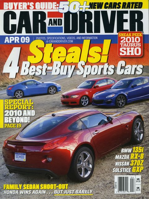 april 2009 car and driver magazine cover