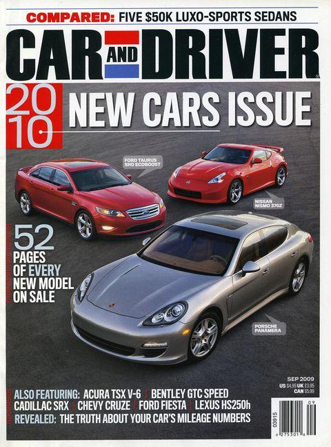 september 2009 car and driver magazine cover