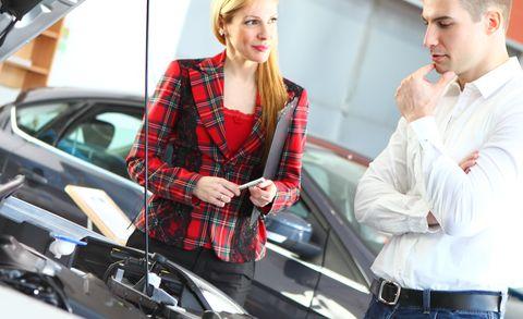 car saleswoman and customer