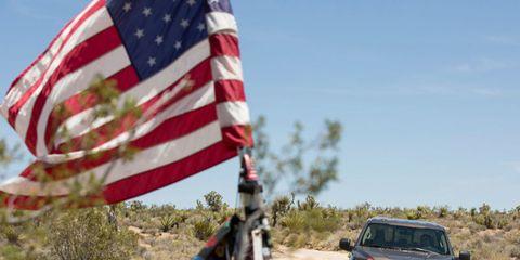 Daytime, Flag, Plant community, Flag of the united states, Automotive exterior, Summer, Ecoregion, Carmine, Grille, Bumper,
