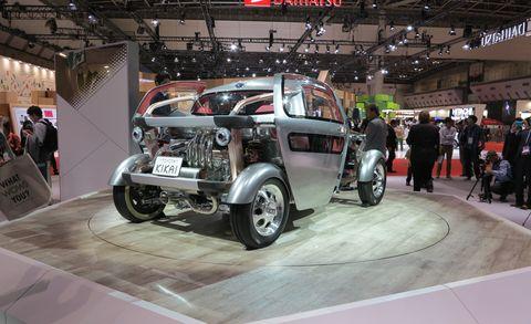 Motor vehicle, Tire, Automotive design, Automotive tire, Automotive wheel system, Auto show, Automotive exterior, Exhibition, Machine, Rim,