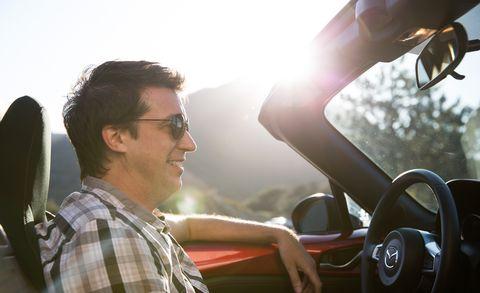 Eyewear, Motor vehicle, Vision care, Steering part, Automotive design, Shirt, Steering wheel, Automotive mirror, Gauge, Plaid,