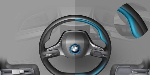 Blue, Teal, Aqua, Azure, Turquoise, Electric blue, Circle, Steering wheel, Graphics, Silver,