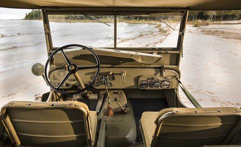 Motor vehicle, Mode of transport, Steering wheel, Steering part, Vehicle door, Windshield, Automotive window part, Machine, Classic, Military vehicle,