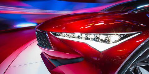 Automotive design, Event, Automotive lighting, Car, Red, Automotive exterior, Grille, Logo, Light, Carmine,