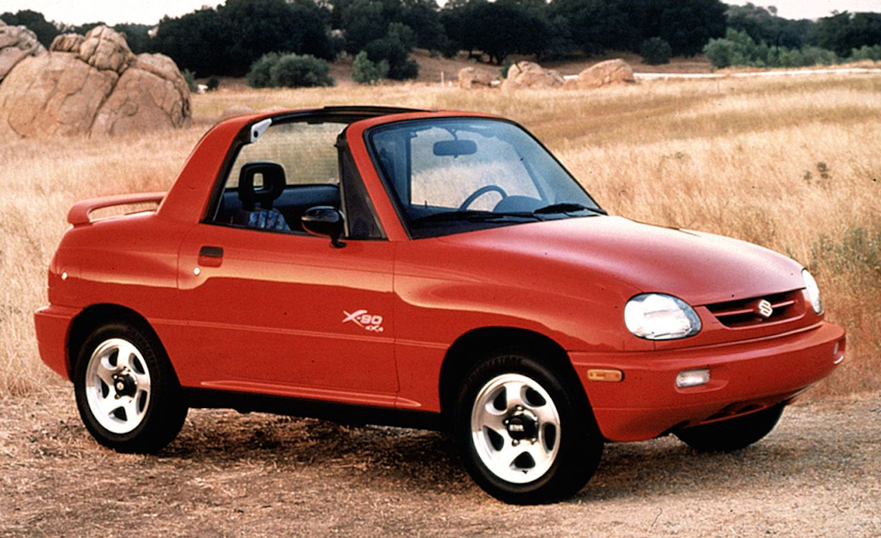 Suzuki X-90 (1995–1997) The next time someone tells you there is no such thing as a bad idea, show them a picture of the Suzuki X-90, a two-seat SUV with about the passenger and cargo space of a Mazda MX-5 Miata. Basically a chopped down Suzuki Sidekick, the X-90's tiny dimensions and odd proportions kept its appeal in check.