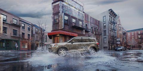 Vehicle, Car, Automotive design, Urban area, Sport utility vehicle, City car, Crossover suv, Street, Rain, Road,