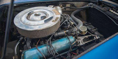 Engine, Automotive engine part, Turquoise, Teal, Automotive fuel system, Automotive super charger part, Automotive air manifold, Fuel line, Nut, Kit car,