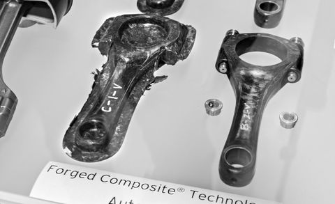 Lamborghini ACSL Detail - forged-composite connecting rods before and after trimming