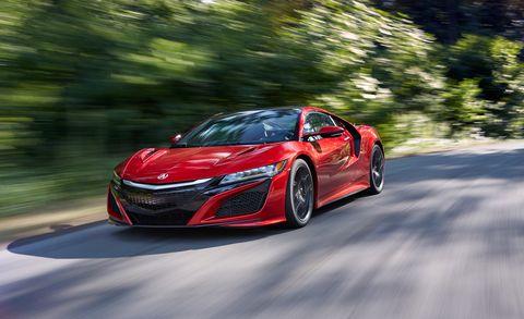Land vehicle, Vehicle, Car, Automotive design, Supercar, Sports car, Red, Coupé, Performance car, Honda nsx,