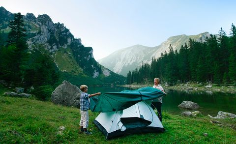 Mountainous landforms, Tent, Mountain range, Highland, Hill, People in nature, Hill station, Mountain, Grassland, Camping,