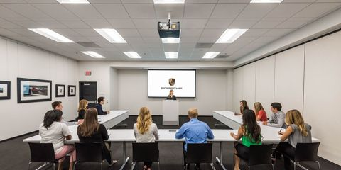 Lighting, Room, Furniture, Interior design, Ceiling, Chair, Conference hall, Class, Classroom, Light fixture,