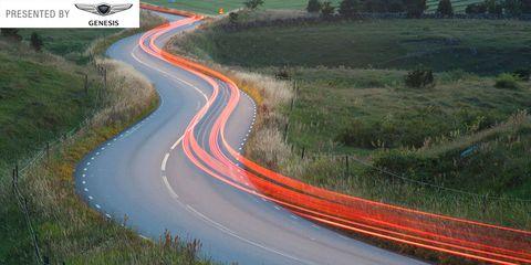 Road, Nature, Green, Grass, Natural landscape, Road surface, Infrastructure, Asphalt, Red, Landscape,