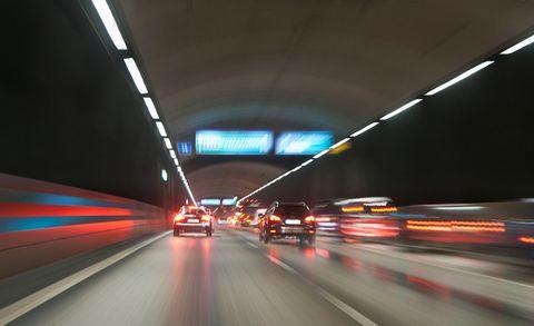Motor vehicle, Mode of transport, Road, Automotive design, Infrastructure, Transport, Automotive lighting, Night, Line, Highway,