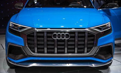 Automotive design, Blue, Vehicle, Event, Grille, Car, Hood, Automotive exterior, Electric blue, Automotive lighting,