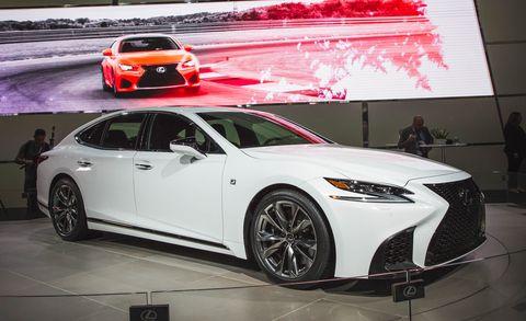 Land vehicle, Vehicle, Car, Auto show, Motor vehicle, Automotive design, Lexus, Luxury vehicle, Mid-size car, Wheel,