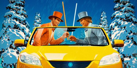 Motor vehicle, Blue, Mode of transport, Yellow, Automotive design, Transport, Automotive exterior, Automotive mirror, Hood, Hat,