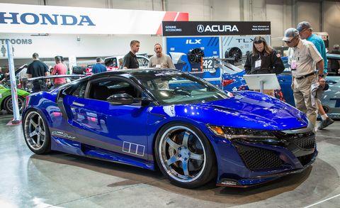 Land vehicle, Vehicle, Car, Auto show, Sports car, Automotive design, Supercar, Performance car, Honda, Custom car,