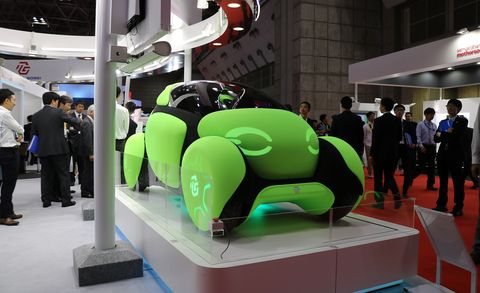 Green, Automotive design, Auto show, Design, Technology, Exhibition, Vehicle, Car, Sculpture, Art,