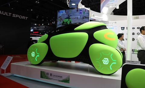 Automotive design, Green, Vehicle, Auto show, Car, Design, Gadget, Technology, Electric vehicle, Exhibition,