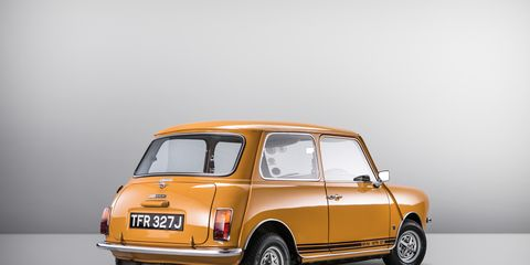 Land vehicle, Vehicle, Car, Yellow, Mini, City car, Subcompact car, Classic car, Model car, Supermini,