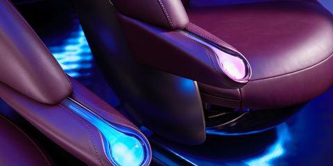 Car, Purple, Vehicle, Electric blue, Auto part, Armrest,