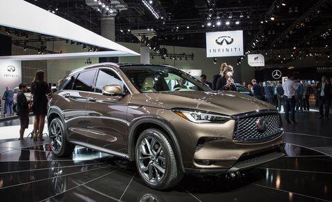 Land vehicle, Vehicle, Car, Auto show, Motor vehicle, Automotive design, Crossover suv, Sport utility vehicle, Mid-size car, Infiniti,