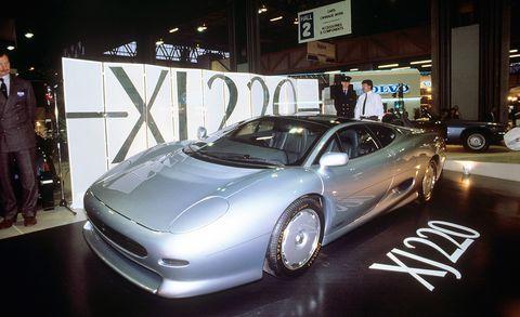 Land vehicle, Vehicle, Car, Supercar, Sports car, Automotive design, Auto show, Jaguar xj220, Luxury vehicle, Automotive wheel system,
