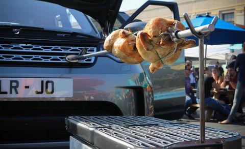 Vehicle, Car, Roasting, Food, Cuisine, Grilling, Automotive exterior, Sport utility vehicle, Dish, Meat,
