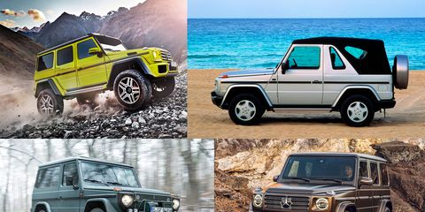 Collage of 4 Mercedes G Wagons