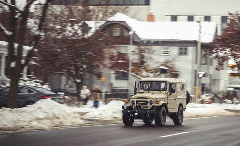 Vehicle, Car, Mode of transport, Snow, Transport, Off-road vehicle, Winter, Jeep cj, Winter storm, Hardtop,
