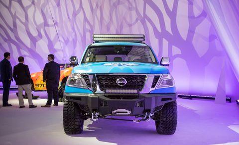 Land vehicle, Vehicle, Car, Auto show, Automotive design, Pickup truck, Bumper, Automotive exterior, Off-road vehicle, Nissan,