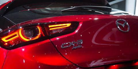 Land vehicle, Vehicle, Car, Automotive design, Mazda, Auto show, Automotive lighting, Mid-size car, Compact car, Mazda3,