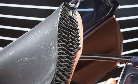 Automotive exterior, Grille, Hood, Automotive design, Bumper, Vehicle, Carbon, Auto part, Material property, Car,