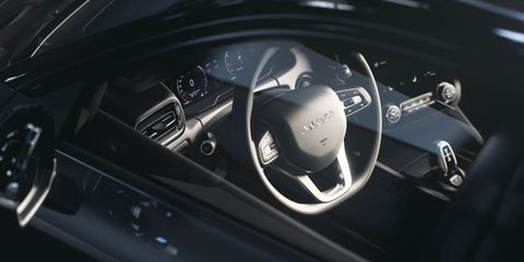 Car, Vehicle, Steering wheel, Personal luxury car, Automotive design, Luxury vehicle, Steering part, Speedometer, Family car, Mid-size car,
