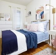 Blue, Room, Bed, Interior design, Floor, Property, Bedding, Bedroom, Wall, Textile,